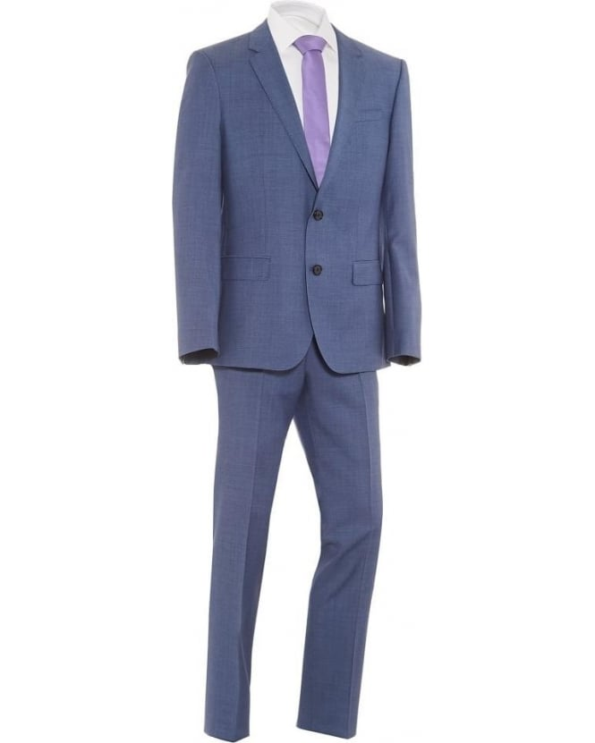 Hugo Boss - Hugo Mens Suit Huge4 Genius3 Micro Square Wool Slim Mid Blue Suit