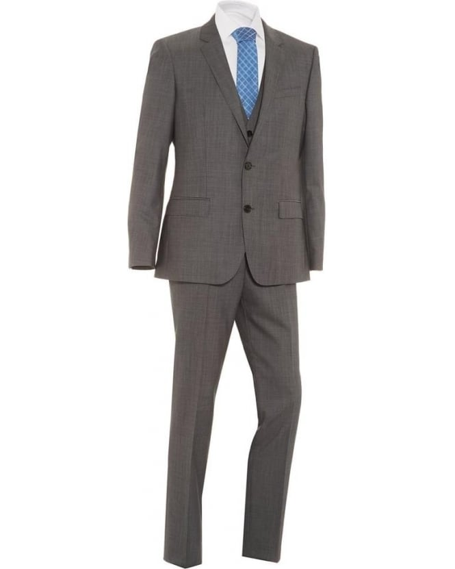 Hugo Boss - Hugo Mens Suit Huge4 Genius3 Three Piece Wool Slim Grey Suit