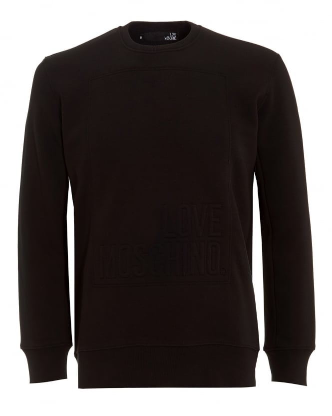 Love Moschino Mens Sweatshirt, Black Embossed Logo Sweatshirt