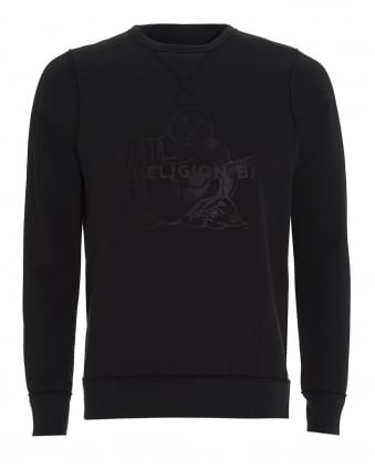 Mens Sweatshirt Black True Religion Brand Buddha Logo