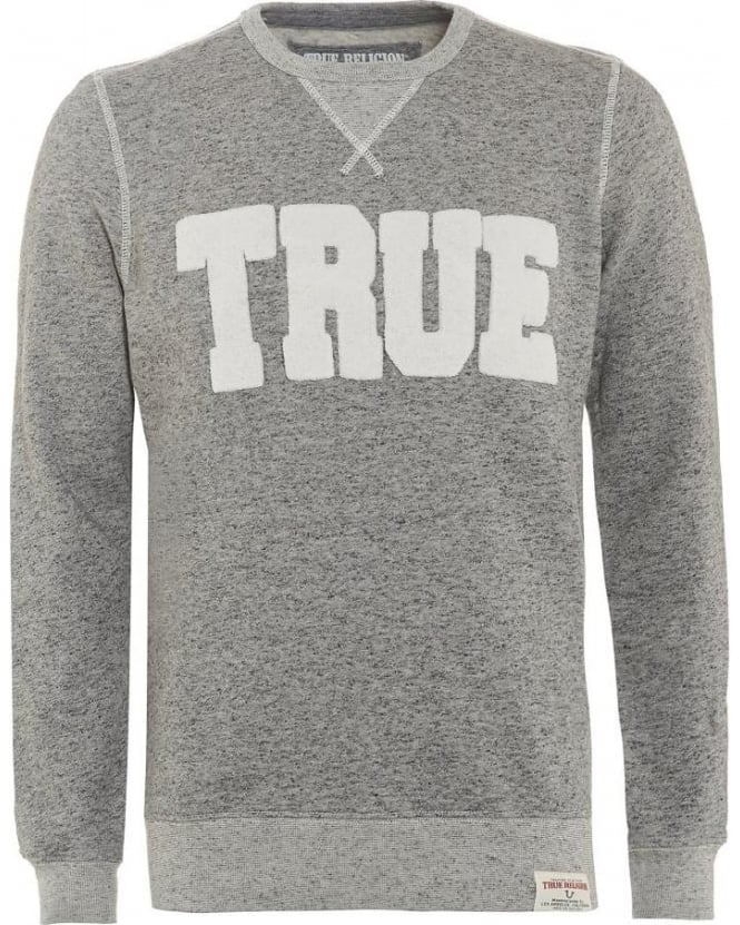True Religion Jeans Mens Sweatshirt Double Knit Grey Logo Sweat