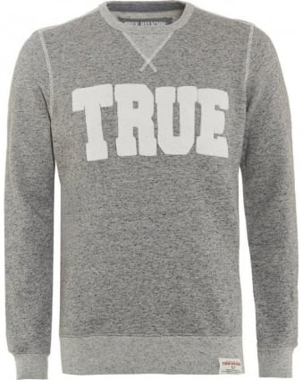 Mens Sweatshirt Double Knit Grey Logo Sweat