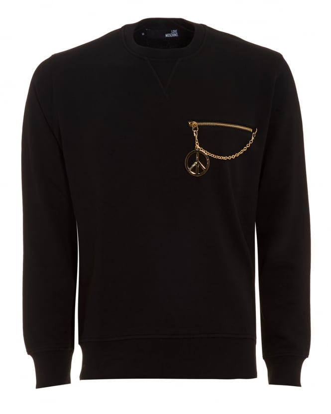 Love Moschino Mens Sweatshirt, Gold Zip Pocket Black Jumper