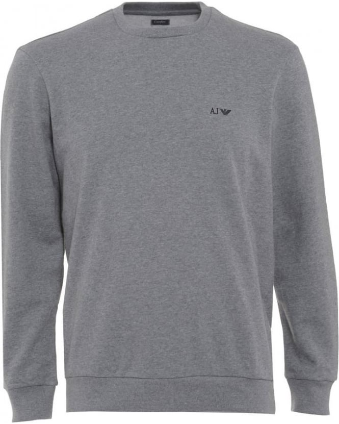 Armani Jeans Mens Sweatshirt Grey Crew Neck Comfort Fit Jumper