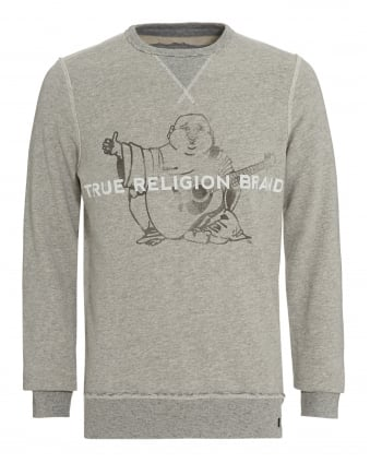Mens Sweatshirt Grey True Religion Brand Buddha Logo