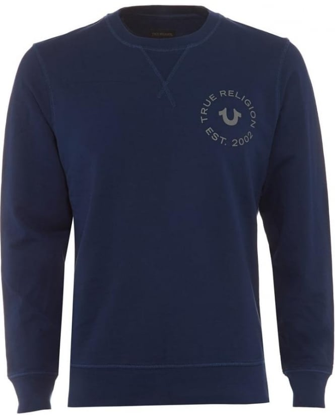 True Religion Jeans Mens Sweatshirt Horseshoe Stamp Logo Navy Blue Track Top