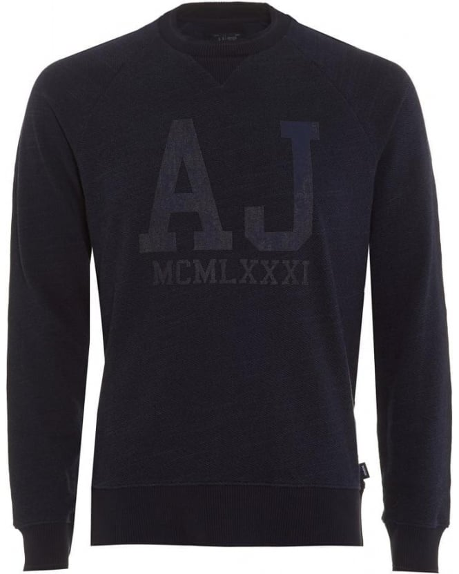 Armani Jeans Mens Sweatshirt Large AJ Logo Navy Blue Jumper