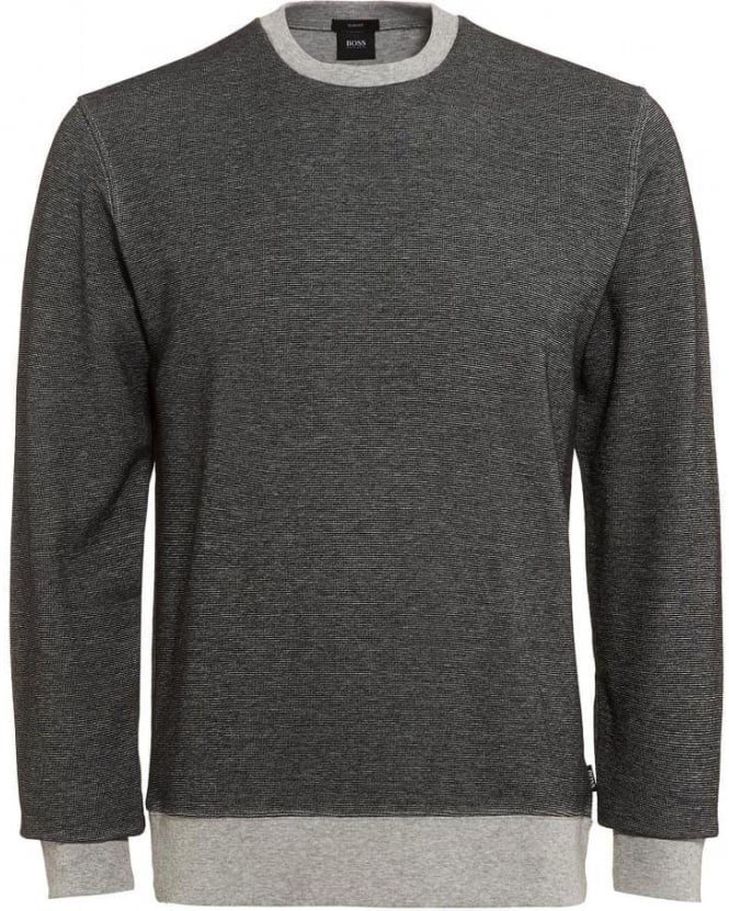 Hugo Boss Black Mens Sweatshirt Skubic 04 Two-Tone Grey Slim Fit Sweat
