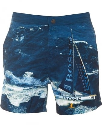 Mens Swim Shorts Blackfish Boat Print Dark Blue Shorts