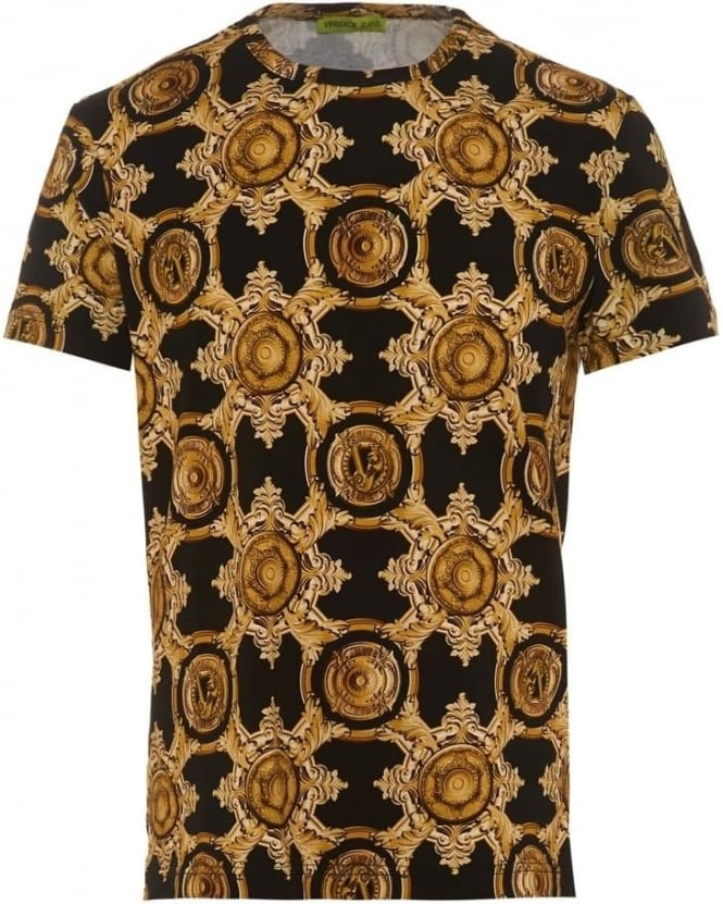 Versace Jeans Mens T-Shirt Black Baroque All Over Gold Print Tee