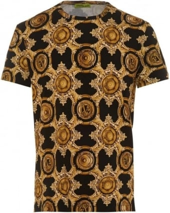Mens T-Shirt Black Baroque All Over Gold Print Tee