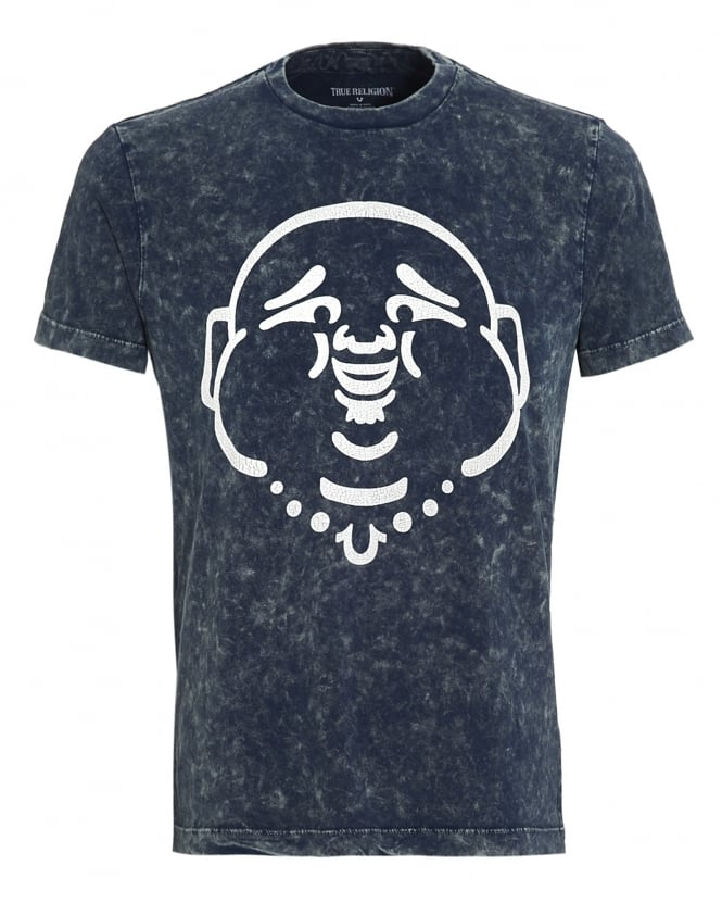 True Religion Jeans Mens T-Shirt, Blue Acid Wash Buddha Face Tee