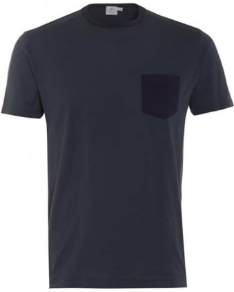 Mens T-Shirt Blue Contrast Navy Pocket Tee