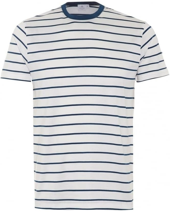 Sunspel Mens T-Shirt, Blue White Quarter Striped Cotton Tee