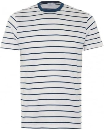 Mens T-Shirt, Blue White Quarter Striped Cotton Tee