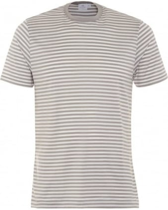 Mens T-Shirt, Brent Grey White Fine Stripe Cotton Tee