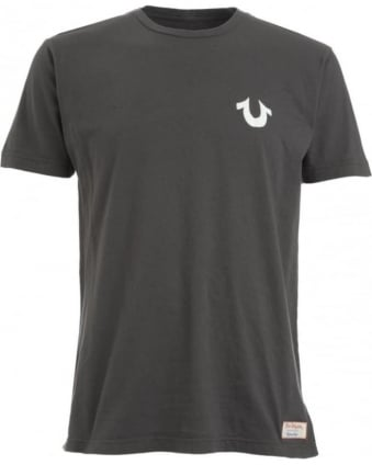 Mens T-Shirt Buddha Back Charcoal Horseshoe Logo Tee