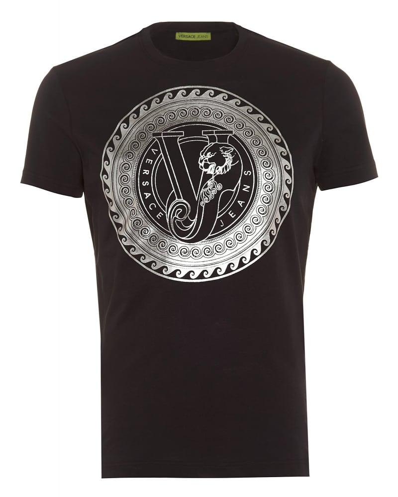 Versace jeans mens t shirt circular silver foil print for Foil print t shirts custom