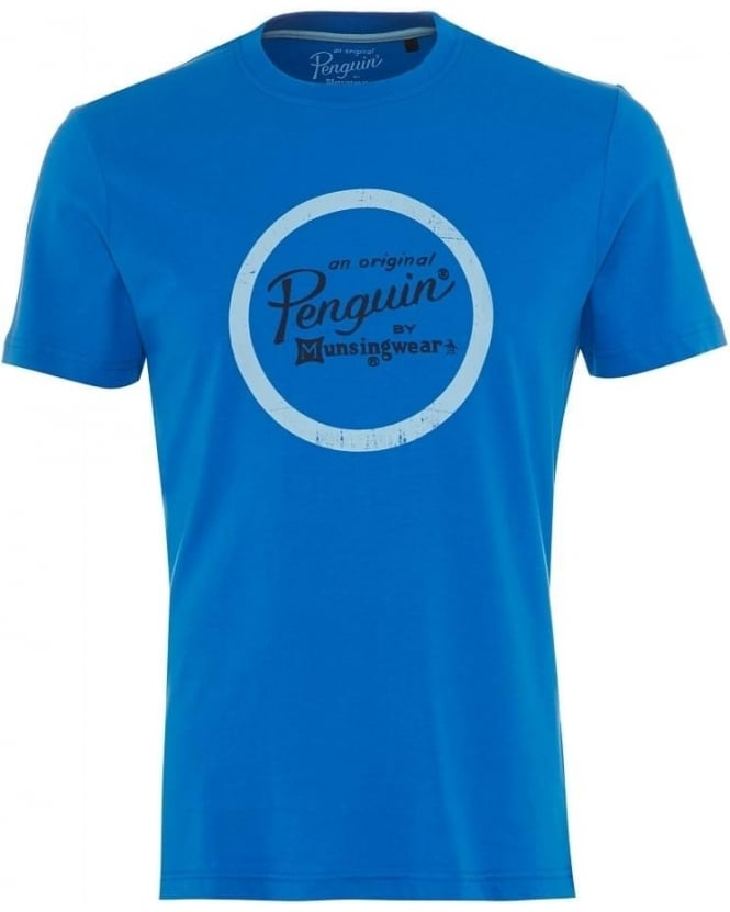 Original Penguin Mens T-Shirt Director Circle Logo Blue Tee