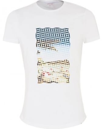 Mens T-Shirt Geometric Beach Print White Tee