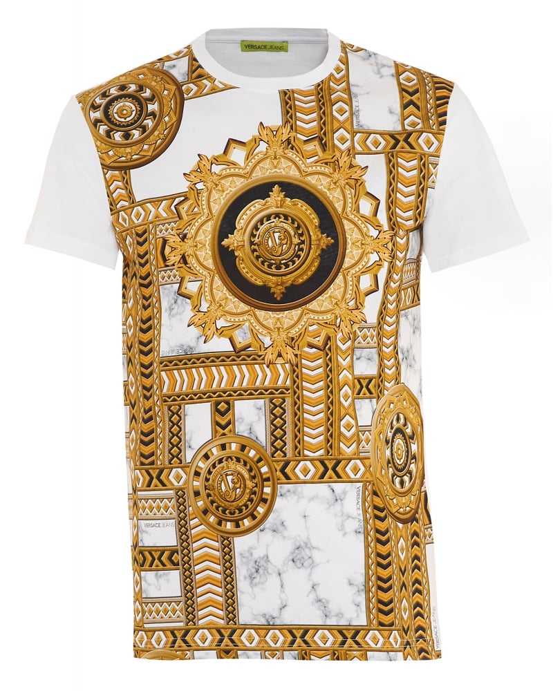 Versace Jeans Mens T Shirt Gold Chain Print Slim Fit White Tee