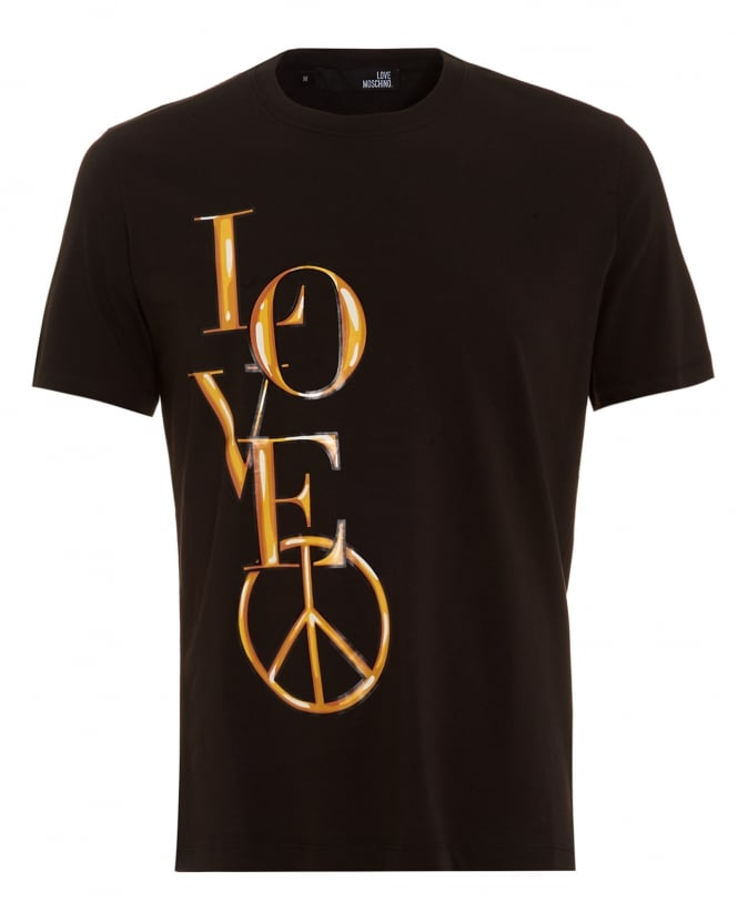 Love Moschino Mens T-Shirt, Gold Love Logo Tee