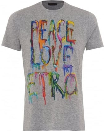 Mens T-Shirt Graffiti Peace Graphic Print Grey Tee