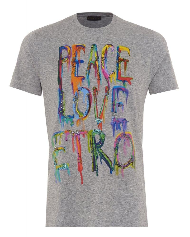 Etro Mens T Shirt Graffiti Peace Graphic Print Grey Tee