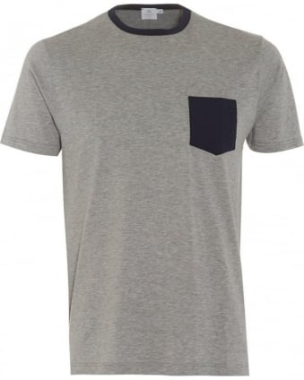 Mens T-Shirt Grey Contrast Navy Pocket Tee