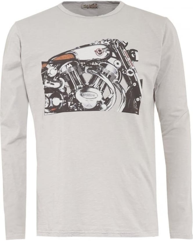 Matchless Mens T-Shirt, Grey Long Sleeve Graphic Motorbike Tee