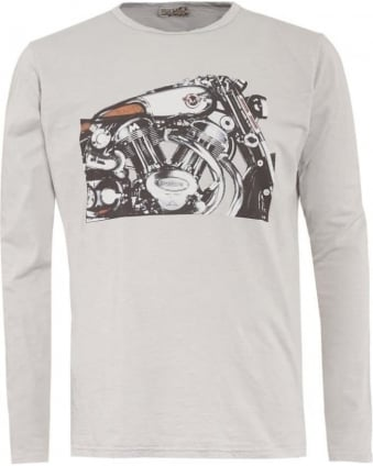 Mens T-Shirt, Grey Long Sleeve Graphic Motorbike Tee