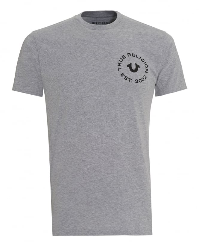 True Religion Jeans Mens T-Shirt, Heather Grey Circle Graphic Logo Tee