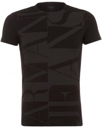 Mens T Shirt Logo Letter Slim Fit Black Tee