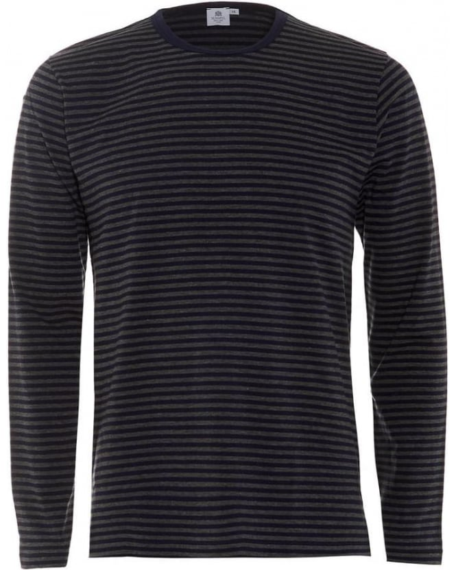 Sunspel Mens T-Shirt Long Sleeve English Stripe Navy Grey Tee