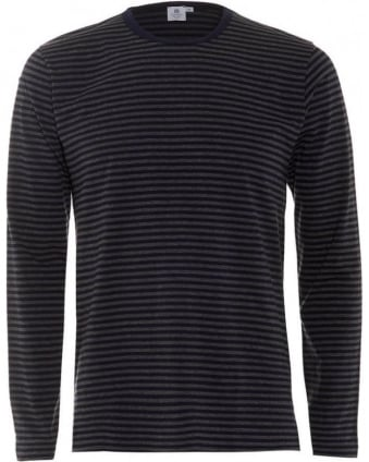 Mens T-Shirt Long Sleeve English Stripe Navy Grey Tee
