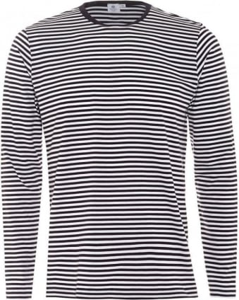 Mens T-Shirt Long Sleeve English Stripe White Navy Tee