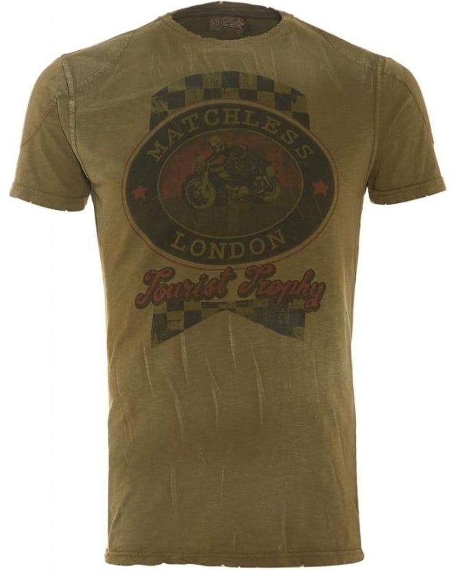 Matchless Mens T-Shirt Military Green Vintage Graphic Tourist Trophy Motorcycle Tee