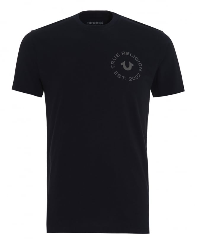 True Religion Jeans Mens T-Shirt, Navy Blue Circle Logo Tee