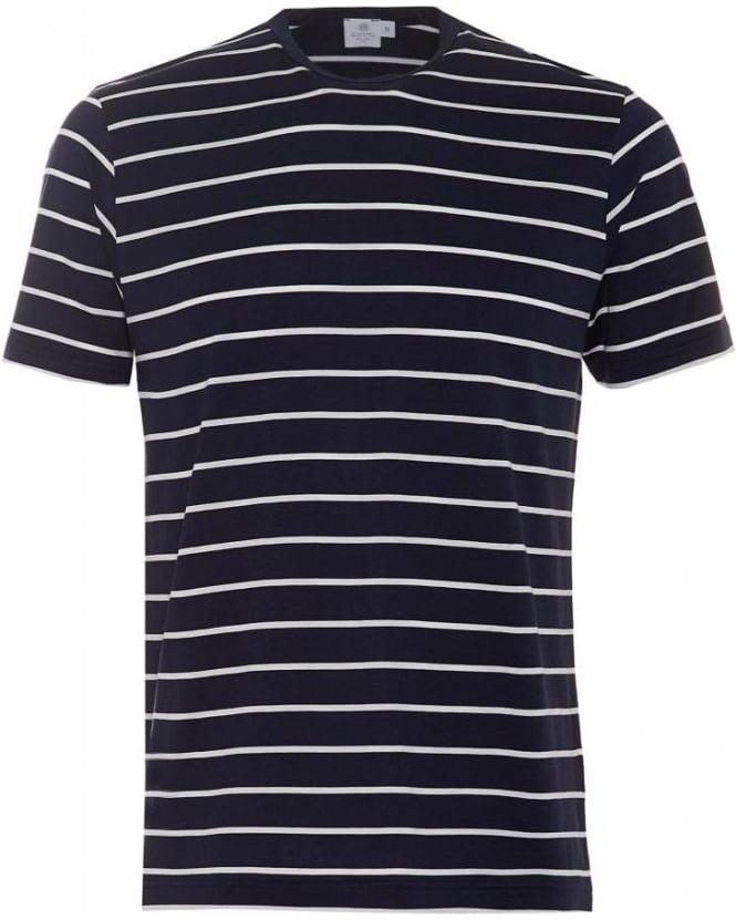 Sunspel Mens T-Shirt, Navy White Quarter Striped Cotton Tee