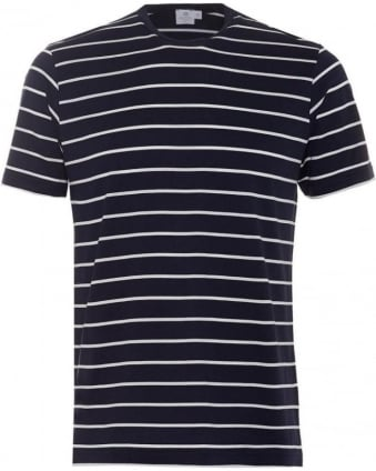 Mens T-Shirt, Navy White Quarter Striped Cotton Tee