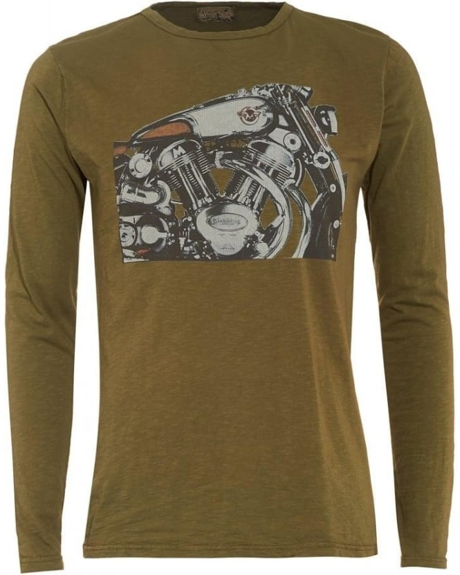 Matchless Mens T-Shirt, Olive Green Long Sleeve Graphic Motorbike Tee