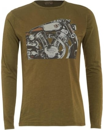 Mens T-Shirt, Olive Green Long Sleeve Graphic Motorbike Tee