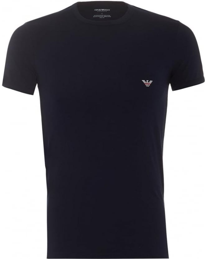 Emporio Armani Mens T-Shirt Pack Crew Neck Navy Eagle Logo Tee