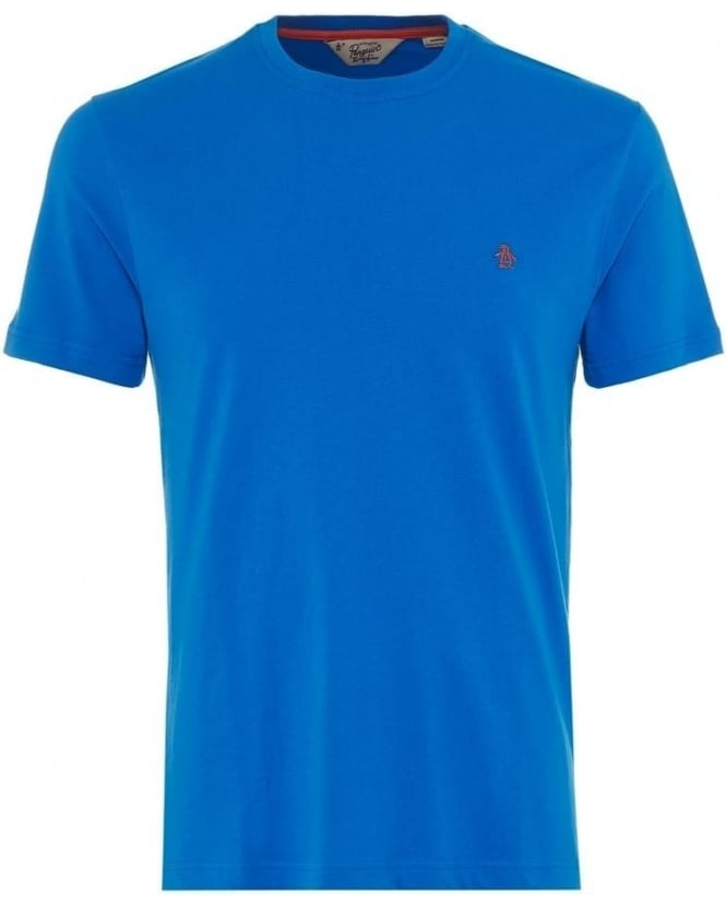 Original Penguin Mens T-Shirt Pinpoint Plain Logo Blue Tee