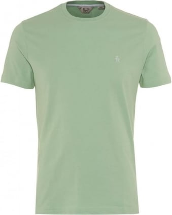 Mens T-Shirt Pinpoint Plain Logo Green Tee