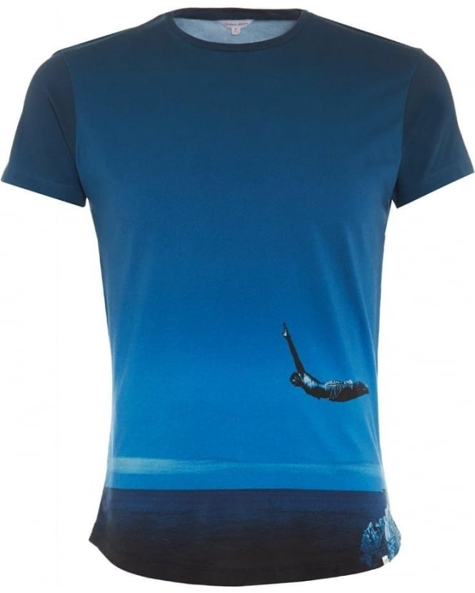 Orlebar Brown Mens T-Shirt Sky Diver Pacific Photographic Blue Tee