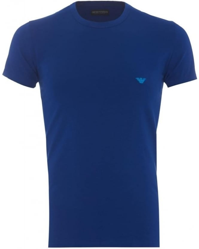 Emporio Armani Mens T-Shirt Small Eagle Logo Royal Slim Fit Tee