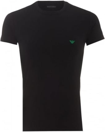 Mens T-Shirt Small Green Eagle Logo Black Slim Fit Tee