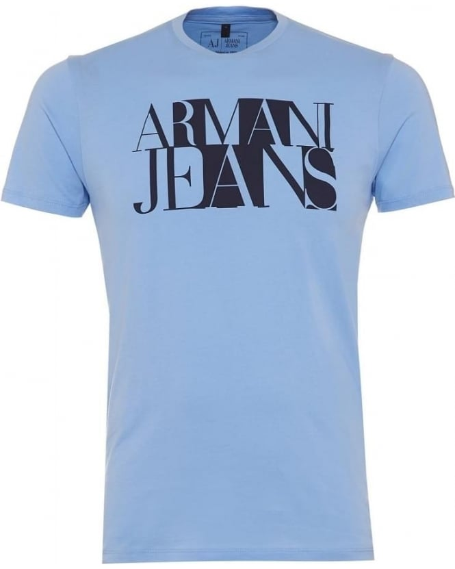 Armani Jeans Mens T Shirt Squares Logo Regular Fit Sky Blue Tee