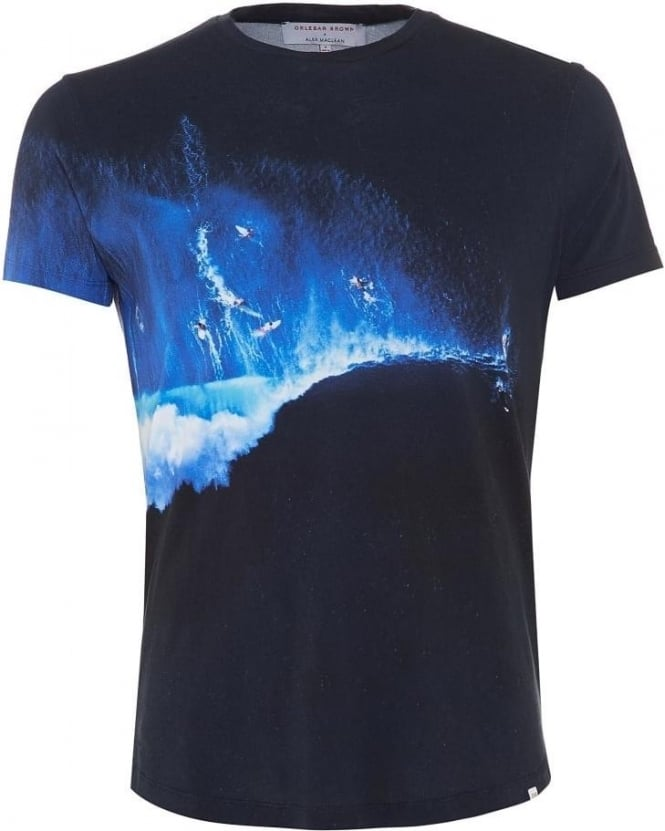 Orlebar Brown Mens T-Shirt, Surfer Photographic Print Navy Tee